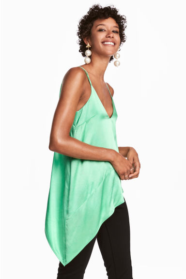 Top asimmetrico in satin - Verde chiaro - DONNA | H&M IT