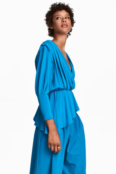 Asymmetric wrapover top - Bright blue - Ladies | H&M CN 1