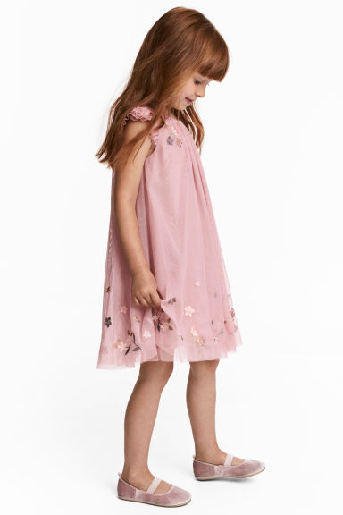 Tulle dress with embroidery - Old rose -  | H&M 1