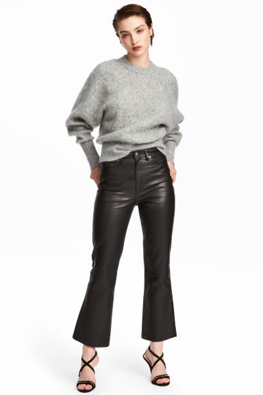 Ankle-length leather trousers - Black - Ladies | H&M GB 1