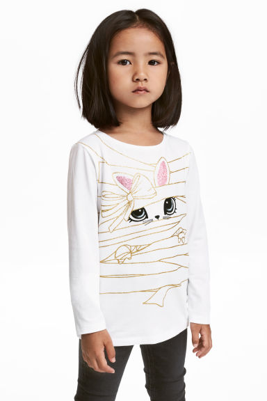 Jersey top with a print motif - White/Rabbit - Kids | H&M CN 1