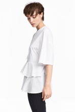 Jersey top with flounces - White - Ladies | H&M 1
