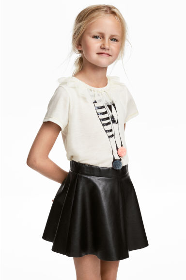 Short-sleeved jersey top - Natural white/Frill - Kids | H&M CN 1