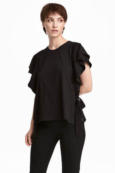 Jersey flounce-sleeved top - Black - Ladies | H&M
