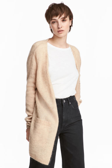 Mohair-blend cardigan - Light beige -  | H&M CN
