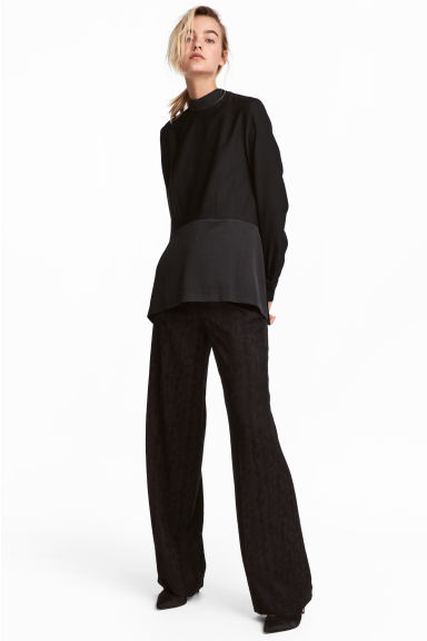 Jacquard-weave trousers - Black/Paisley patterned - Ladies | H&M 1