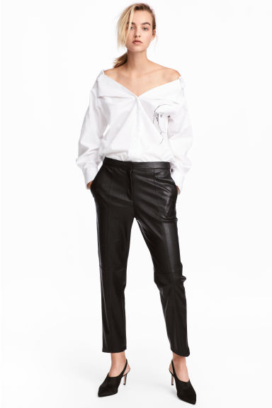 Imitation leather trousers - Black - Ladies | H&M 1