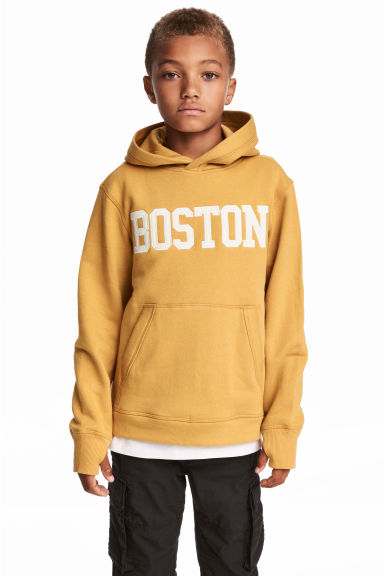 Printed hooded top - Mustard yellow -  | H&M CN 1