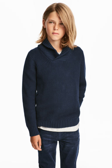 Shawl-collar jumper - Dark blue -  | H&M CN 1