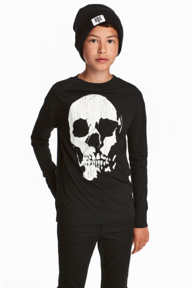 Printed jersey top - Black/Skull -  | H&M 1