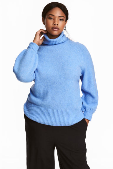 H&M+ Knitted polo-neck jumper - Blue marl - Ladies | H&M CN 1