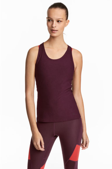 Sports vest top - Burgundy marl - Ladies | H&M 1