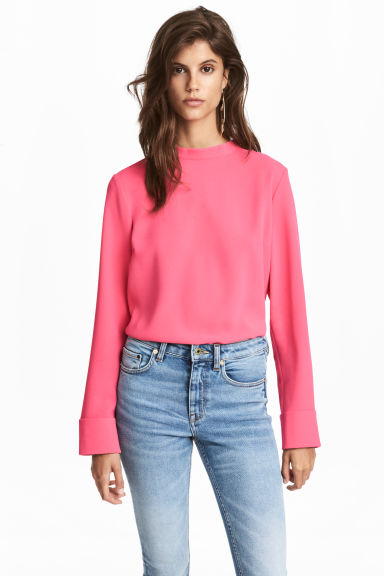 Blouse with a stand-up collar - Pink - Ladies | H&M 1