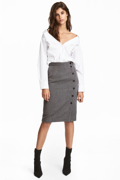 Knee-length skirt - Dark grey/Herringbone - Ladies | H&M CN 1