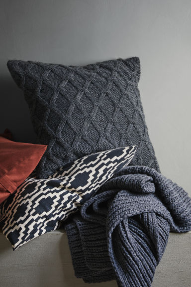 Patterned cushion cover - Anthracite grey/White - Home All | H&M CN 1