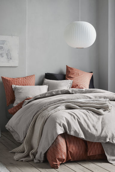 Patterned Duvet Cover Set - Orange - Home All | H&M CA 1