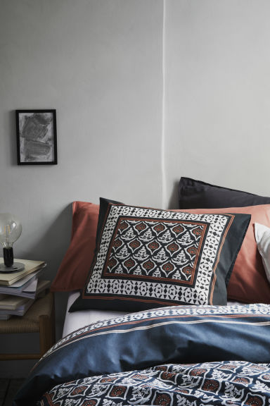 Patterned duvet cover set - Anthracite grey/Patterned - Home All | H&M IE 1