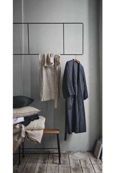 Washed linen dressing gown - Linen beige - Home All | H&M CN 1