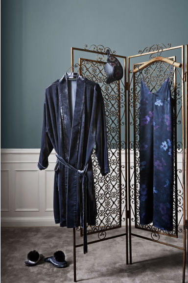 Velvet dressing gown - Grey -  | H&M CN 1