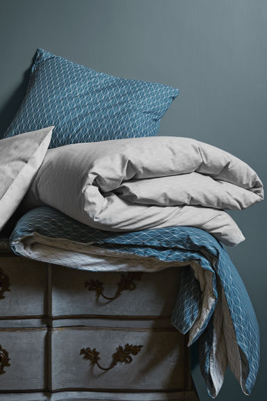 Patterned duvet cover set - Light grey - Home All | H&M CN 1