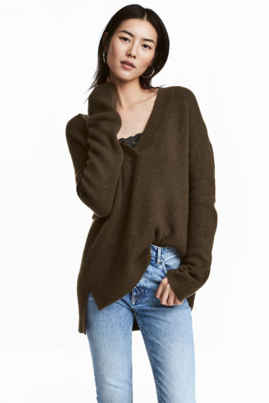 Oversized jumper - Dark khaki green - Ladies | H&M CN 1