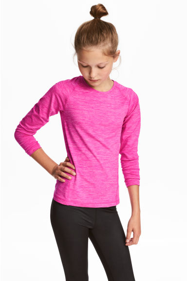 Long-sleeved sports top - Neon pink -  | H&M CN 1