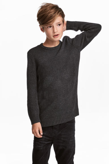 Jacquard-knit jumper - Dark grey/Skull -  | H&M CN 1