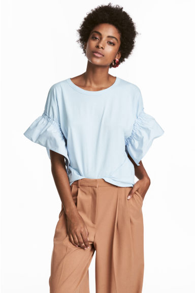 T-shirt with frilled sleeves - 浅蓝色 - Ladies | H&M CN 1