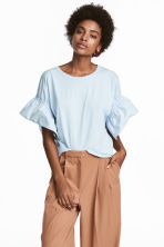 T-shirt with frilled sleeves - Light blue - Ladies | H&M 1
