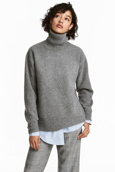 Cashmere-mix polo-neck jumper - null - Ladies | H&M CN 1