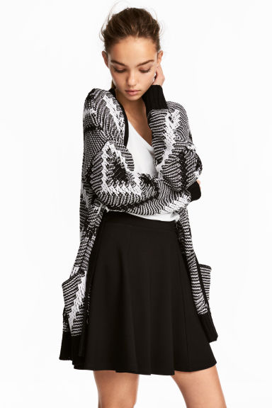 Jacquard-knit cardigan - Black/White - Ladies | H&M CN 1
