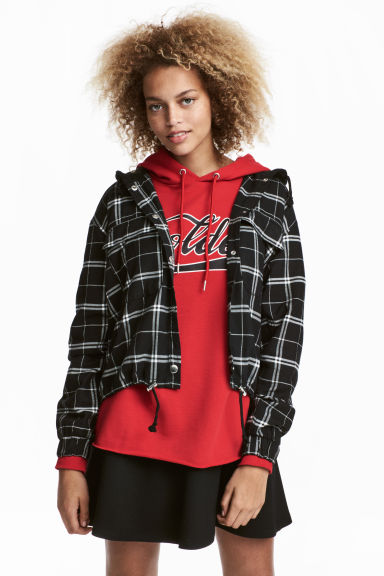 Hooded flannel shirt - Black/White checked - Ladies | H&M CN 1