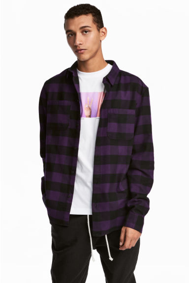 Flannel shirt - Purple/Black checked - Men | H&M CN 1