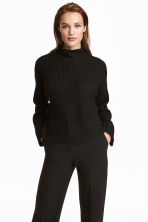 Knitted wool-blend jumper - Black - Ladies | H&M CN 1