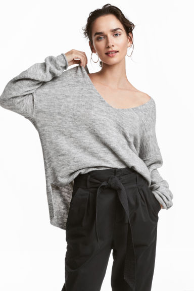 V-neck jumper - Light grey marl - Ladies | H&M