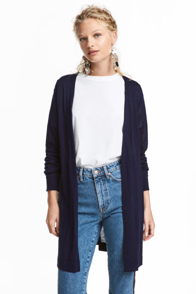 Cardigan in maglia fine - Blu scuro - DONNA | H&M IT 1