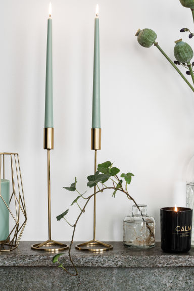 Large metal candlestick - Gold - Home All | H&M GB 1