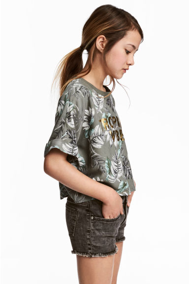 Cropped top - Khaki green - Kids | H&M 1