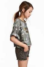 Cropped top - Khaki green - Kids | H&M CA 1