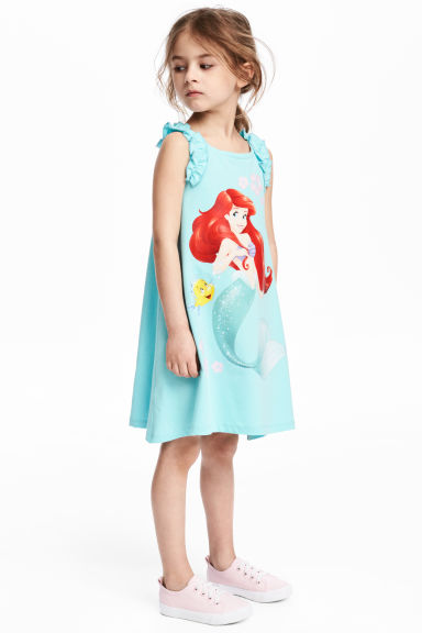 Sleeveless printed dress - Turquoise/The Little Mermaid - Kids | H&M CN 1