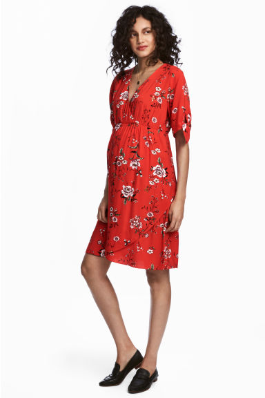 V-neck dress - Red/Floral - Ladies | H&M