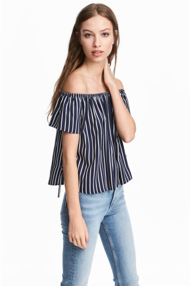露肩上衣 - Blue/White striped -  | H&M