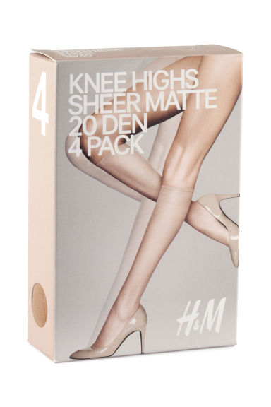 20 den 4-pack knee highs - Light amber - Ladies | H&M