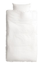 Washed linen duvet cover set - White - Home All | H&M CN 4