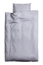 Cotton chambray duvet set - Light grey - Home All | H&M CN 2
