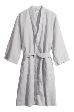 Washed linen dressing gown - Light grey - Home All | H&M CN 2