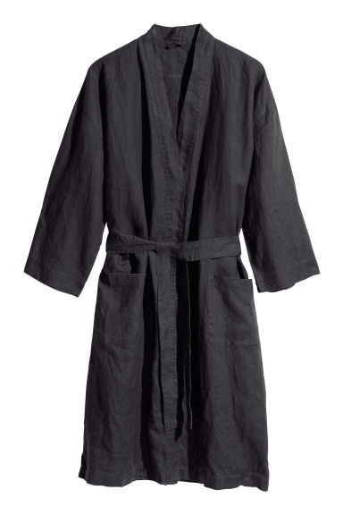 Washed linen dressing gown - Anthracite grey -  | H&M IE