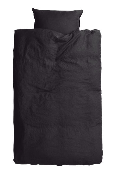 Washed linen duvet cover set - Anthracite grey -  | H&M GB