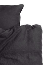 Washed linen duvet cover set - Anthracite grey - Home All | H&M IE 2