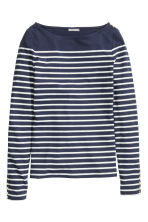 Boat-neck top - Dark blue/Striped - Ladies | H&M GB 2